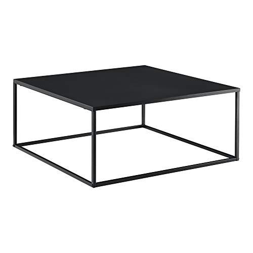 Table Basse Carrée Stylée pour Salon en Métal Surface Anti-Éraillures 38 x 85 x 85 cm Noir Mat