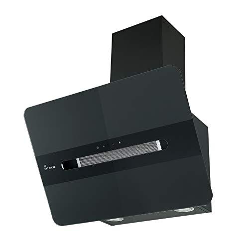 KKT KOLBE Kopffreie Dunstabzugshaube/Wandhaube / 60cm / Edelstahl/Schwarzes Glas/Extra-leise / 9 Stufen/LED-Beleuchtung/TouchSelect Sensortasten/Nachlaufautomatik / ORION6109S