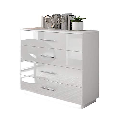 LUK Furniture Kommode Lina mit Schubladen und glänzenden Griffen in Chrom Weiß Hochglanz HG Schlafzimmer Schlafzimmerkommode Highboard Sideboard Schrank Mehrzweckschrank