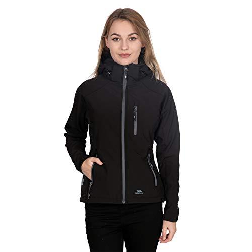 Trespass Bela II, Black, L, Wasserdichte Softshelljacke mit abnehmbarer Kapuze für Damen, Large, Schwarz
