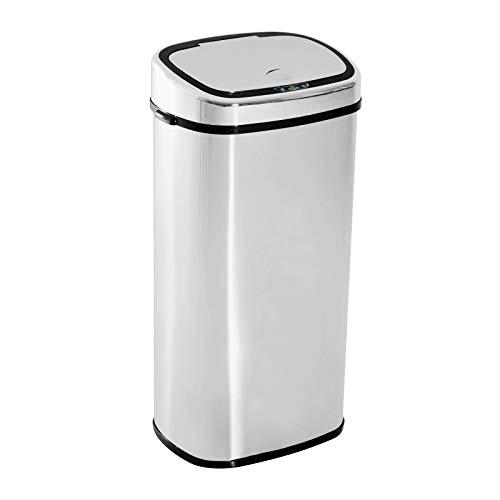 HOMCOM Mülleimer Automatik mit Sensor Abfalleimer Küche Edelstahl Silber (68L)
