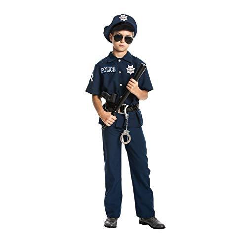 Kostümplanet® Polizei-Kostüm Kinder Jungen Uniform Polizist Verkleidung Set Mütze und Zubehör Kinderkostüm Karnevals-Kostüme Fasching Outfit Größe 128