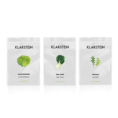 Klarstein GrowIt Seeds Salad - 3 Sobres de Semillas: lollo Blanco, pak Choi, rúcula, Accesorio jardín Inteligente de Cocina
