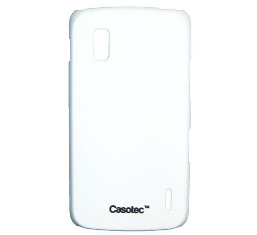 Casotec Ultra Slim Hard Shell Back Case Cover w/Screen Protector for LG Nexus 4 E960 - White