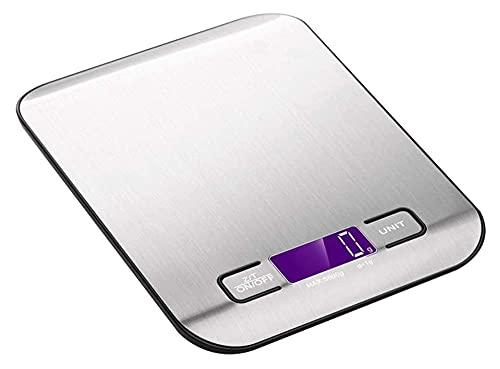 M3 Decorium Básculas de Cocina Digital 5kg / 11lb Balanzas de alimentación de pesaje de Acero Inoxidable con Pantalla LCD Cocción electrónica Tare (Color : 18x14x2cm|Silver)