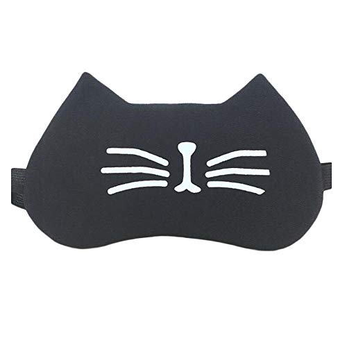 Lovely Black Cat Soft Eye Mask Cat's Beard Pattern Sleep Blackout Eyeshade for Travel and Nap