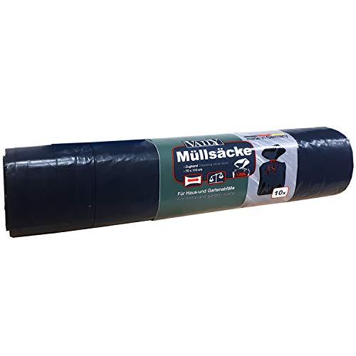 Bolsas de basura 120 litros - Extremadamente resistente al desgarro - Rollo con 10 bolsas de basura - Bolsas de basura 70 x 110 cm