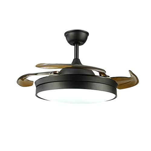 Ventilador de techo LED de 100 cm con luz con mando a distancia, 4 cuchillas retráctiles, 3 velocidades de viento, regulable, silencioso, para oficina, dormitorio