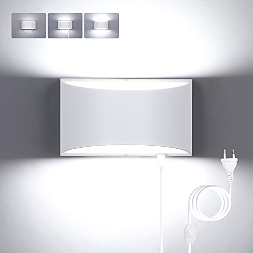 Glighone 12W Lamparas pared Interior con Interruptor Apliques de Pared Regulable con Enchufe Lámpara Colgante de pared Moderna Blanco para Dormitorio Pasillo Entrada
