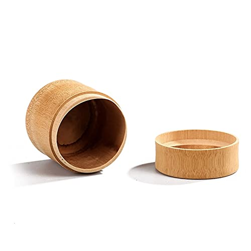 2 unids mini redondo bambú té té maccha caja de almacenamiento recipiente columna té té tarro caddy caja de almacenamiento organizador (Color : As Shown, Size : XXL)