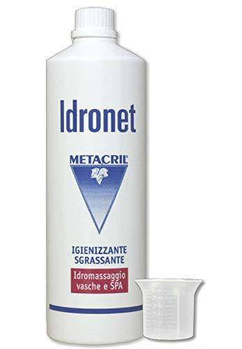 Metacril Idronet 1 L + Vaso dosificador. Desinfectante y desinfectante para bañera de hidromasaje (Teuco, Jacuzzi, Albatros, Novellini, Hafro, Glass, etc.).