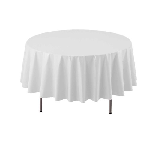 """Party Essentials ValuMost Round Plastic Table Cover Available in 16 Colors, 84"""", White"""