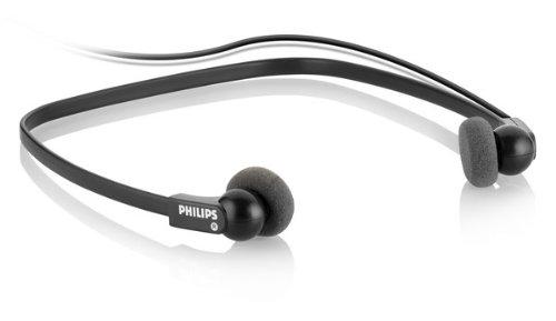 Philips LFH0234/10 Wiedergabe-Kopfhörer, Stereo-Unterkinn-Kopfhörer für Philips Diktier- und Wiedergabesysteme mit 3.5 mm Klinkenstecker, anthrazit
