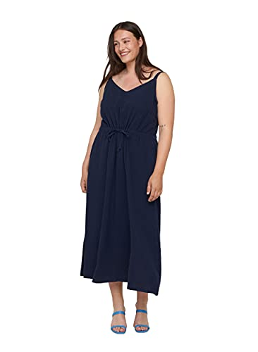 Zizzi Große Größen Damen Maxikleid aus Baumwolle mit Smock Gr 42-44 Blau