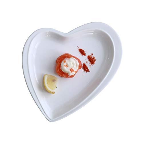 Assiette Coeur Blanche d'amour Ménage en Céramique Creuse 30cm À Dîner De Pâtes Western De Fruits De Collation À Soupe