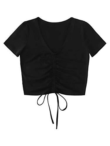 SOLY HUX Crop Top Femme Tee Shirt Court avec Cordon à Manches Courtes Col en V Top Unicolore avec Plis Haut Moulant Sexy Casual Noir M