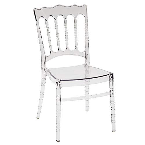 ARREDinITALY - Set Composto da 4 Sedie Stile Chiavarina in Polipropilene Trasparente - Dimensioni L.42 P.43 H.90 cm. Seduta H.45 cm.