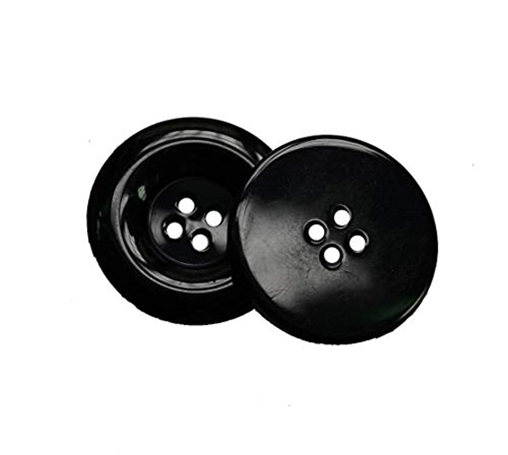 Lyracces Wholesale Lots 8pcs Extra Large Big Wide-Brimmed Sewing Fasteners Flatback Resin Buttons 50mm 1.97 Inches (Black)