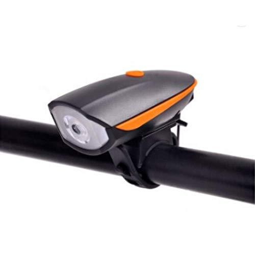 Luce Bicicletta LED | Campanello Bici | Luce LED Bici Anteriore Alta Luminosità con Campanello 90dB 4 Suoni A Batteria 3xAAA (Arancione)