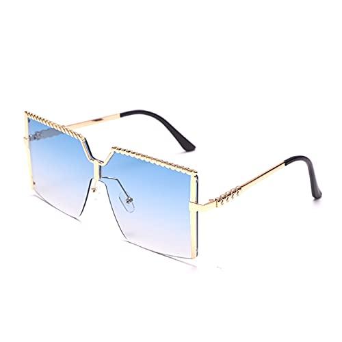 WOJING Gafas de Sol cuadradas de Gran tamaño Mujeres Gafas Hombres Vintage Marco Grande Gafas de Sol Hombres Gafas Shade UV400