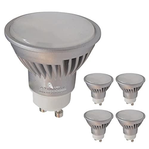 Pack 5x GU10 LED 7w REGULABLE. Color Blanco Neutro (4500K). 680 lumenes. Recambio bombillas halogenos 50w. Angulo 120 grados.