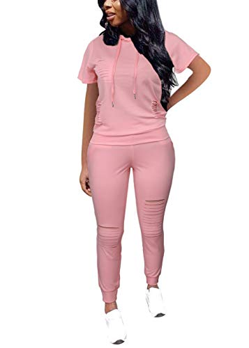 KUBAO Womens Fall Pullover Sweater Top & Long Pants Set 2 Piece Outfits Tracksuit Short Pink 2XL