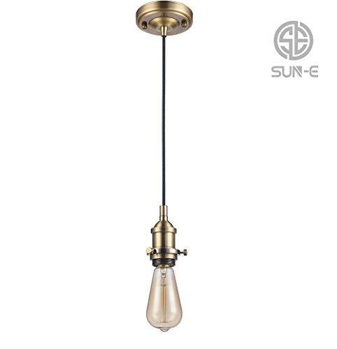 SUN-E Vintage Pendelleuchte - Retro Antike Stil Hängelampe Anhänger - E27 Lampenfassung - 3-adriges Textilkabel(ohne Birne) (Bronze)