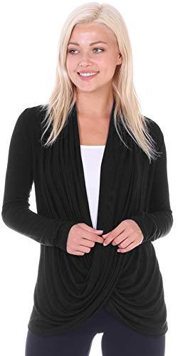 Popana Womens Casual Long Sleeve Criss Cross Fall Cardigan Plus Size Made in USA X-Large Black