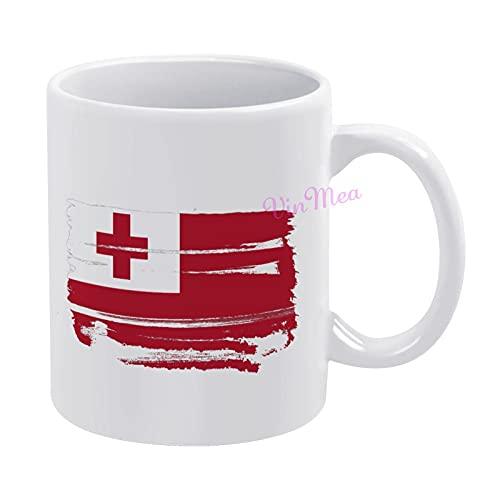 Keramik-Kaffeetasse, Tonga-Flagge, transparent, mit Aquarell-Pinsel, lustige Teetasse, 325 ml