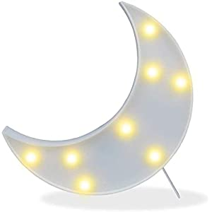 Led Crescent Moon Decor Light,Cute Nursery Night Lamp Gift-Marquee Moon Sign Wall Decor for Birthday Party,Kids Room, Living Room Decor ( White )