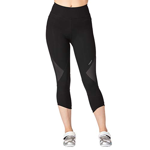 Terry Studio Capri | Women Indoor Cycling Compression Tights - Unique Technology Optimized for Spin Workout Performance | Reticulated Chamois - Black - Small
