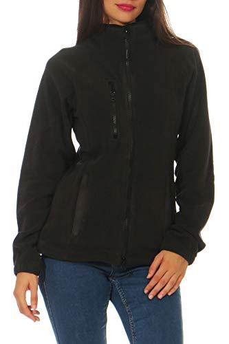Happy Clothing Damen Fleecejacke Microfleece Outdoor-Jacke ohne Kapuze mit Kragen Dunkelblau Schwarz S M L, Größe:L, Farbe:Schwarz