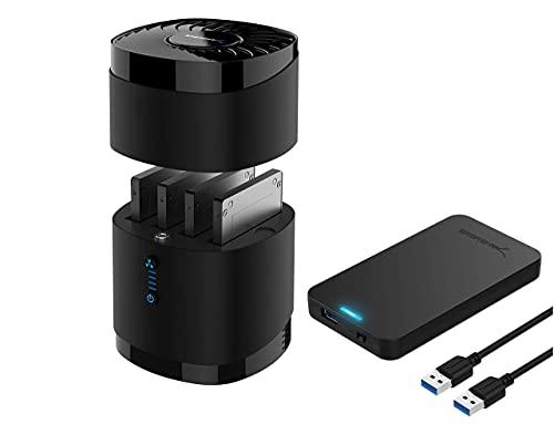 "Sabrent USB 3.0 4 Bay 2.5"" Hard Drive/SSD Docking Station with Fan + 2.5-Inch SATA to USB 3.0 Tool-Free External Hard Drive Enclosure"