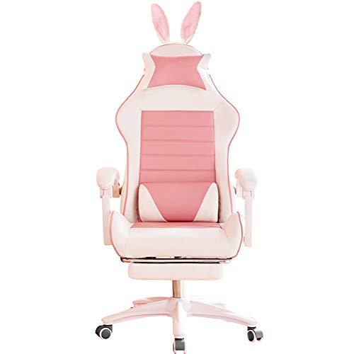 HQBL Silla de Juego Rosa, ergonómica, reclinable, para Oficina, para computadora, con reposapiés y Soporte Lumbar, Orejas de Conejo, para Mujeres/niñas/Adultos