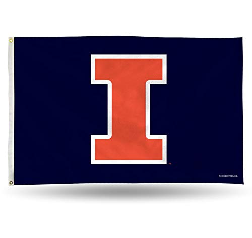 NCAA Rico Industries  3-Foot by 5-Foot Single Sided Banner Flag with Grommets, Illinois Fighting Illini