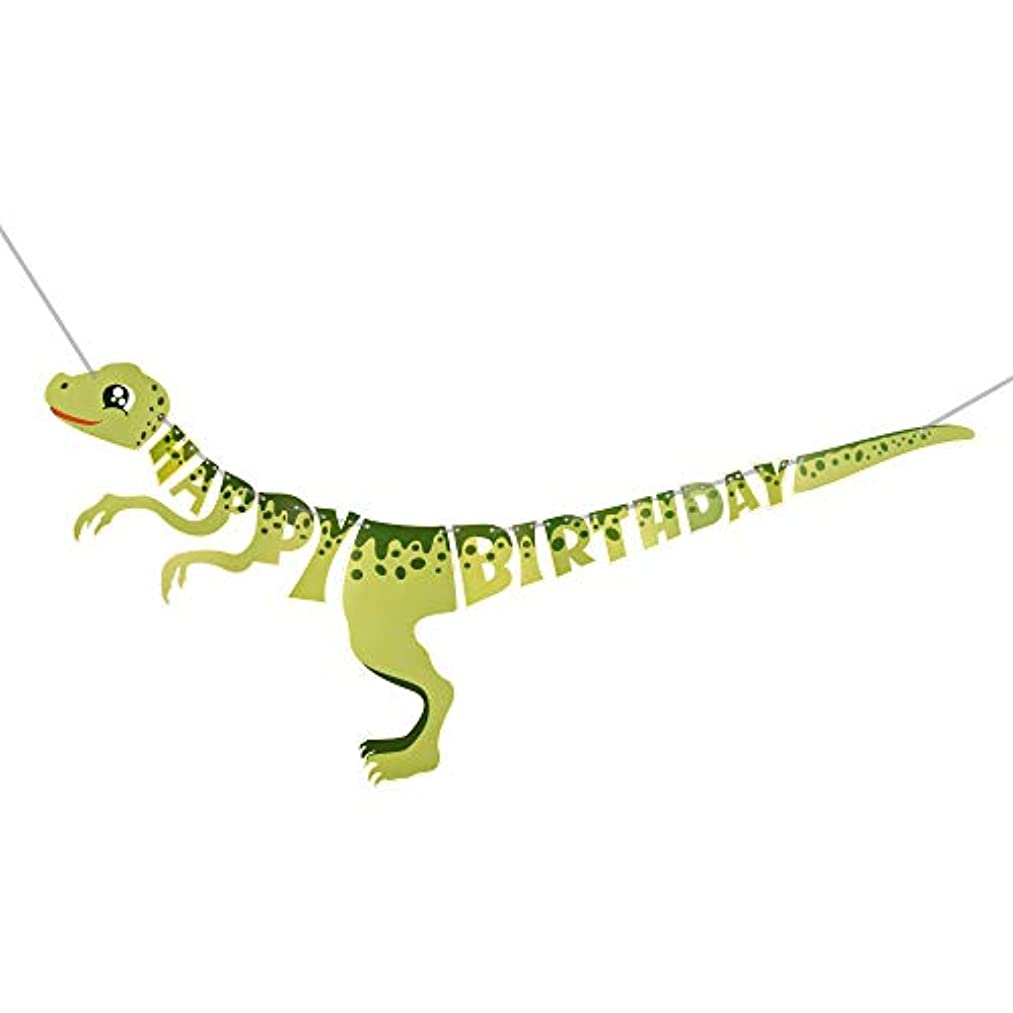 Lacheln Dinosaur Happy Birthday Banner Dinosaur Themed Party Supplies Hanging Paper Decorations (Dinosaur Style 1)