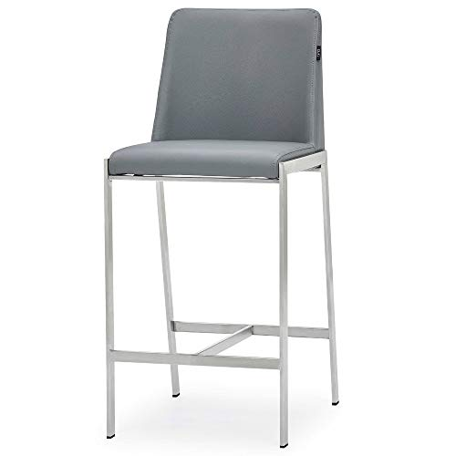 Zuri Furniture Eliza Gray Leatherette Counter Stool with Polished Stainless Steel Legs