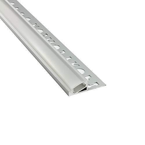 LED Aluprofil T77 10mm silber 20° Fliesenprofil + Abdeckung Abschlussleiste Bordüre Fliesen für LED-Streifen-Strip 2m opal
