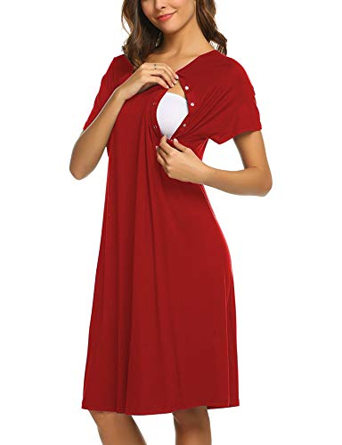 Ekouaer Nursing Dress,Maternity Nightgown Labor Delivery Gown for Hospital Breastfeeding Dress(Red ,XL)