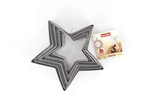 Zenker 44813 Lot de 5 emporte-pièces étoile, Set de 5 découpe-pâtes en forme d'étoile, emporte pièce étoile, Acier inoxydable, Argenté, 6-12 x 2,5 cm