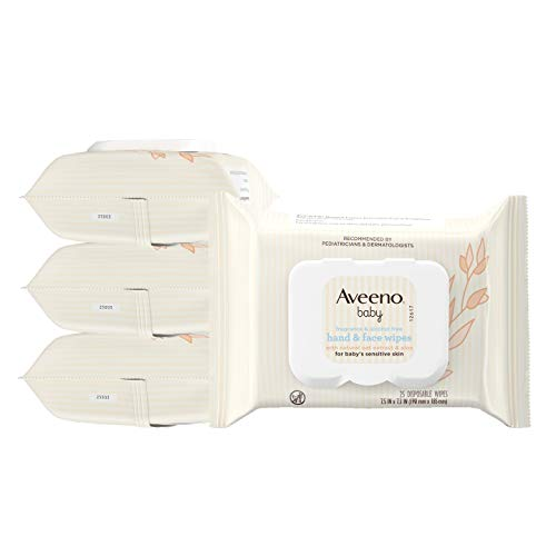 Aveeno Baby Hand & Face Cleansing & Moisturizing Wipes with Oat Extract and Aloe, Fragrance-Free Wipes for Sensitive Skin, Free of Sulfates, Alcohol, Parabens, and Dyes, 25 ct (Pack of 4)