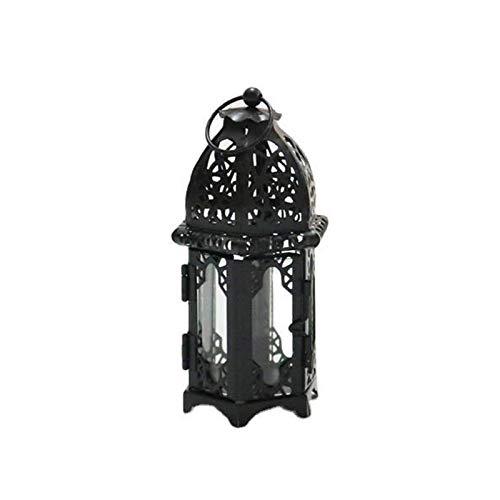 Linterna de vela de estilo marroquí, candelabro de hierro vintage con vidrio transparente a prueba de viento, candelabro de mesa para decoración de fiestas en el hogar en interiores y exteriores
