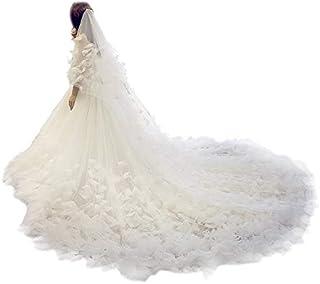 (FUMUD)ウエディングベール ロングベール 美しい 花嫁 ベール ブライダルベール くし付き ベールダウン 3メートル 2層ベール ホワイト