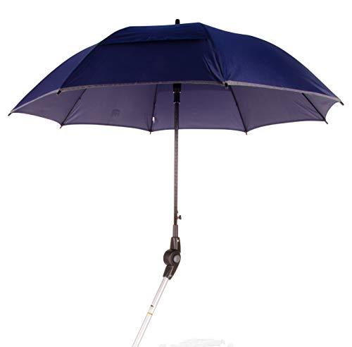 MPB® Rollatorschirm 99 BR (PASSEND FÜR 99% ALLER ROLLATOREN!), Regenschirm und Sonnenschirm, blau-reflektierend, mit 2 Verstellgelenken, Mikrofaser-Schirm mit