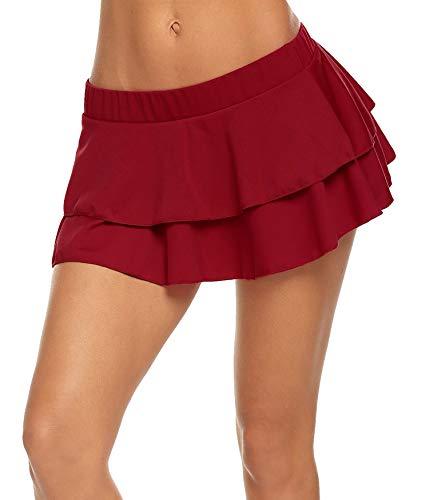 Avidlove Frauen Plissee Minirock Solide Rüschen Dessous Röcke - Rot - XX-Large