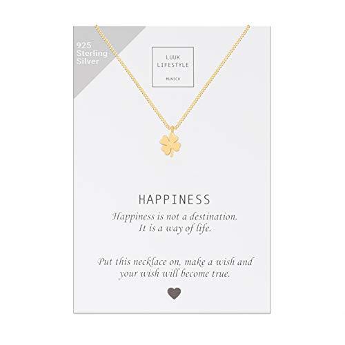 LUUK LIFESTYLE Sterling Silber 925 Halskette mit Kleeblatt Anhänger und Happiness Spruchkarte, Glücksbringer, Damen Schmuck, gold