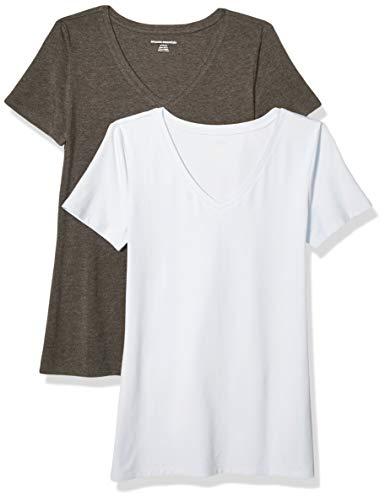 Amazon Essentials Camiseta de manga corta clásico con cuello en V, Mujer, Gris (Carbón Jaspeado/Azul Periwinkle), S, pack de 2