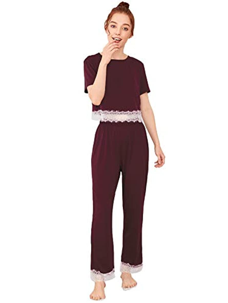 SweatyRocks Women's Cotton Pajama Set Lace Sleepwear Set Top and Pant Pj Set with Pockets