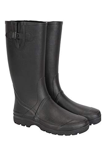 Mountain Warehouse Bottes en Caoutchouc pour Hommes - Hauteur de 40cm, Chaussures 100% Caoutchouc, Chaussures durables de Pluie, Doublure en Coton, faciles à Nettoyer Noir 44
