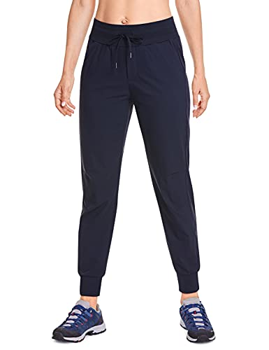 CRZ YOGA Women's Hiking Pants Lightweight Quick Dry Drawstring Joggers with Pockets Elastic Waist Travel Pull on Pants Navy Medium